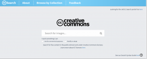 screen shot of CC Search homepage