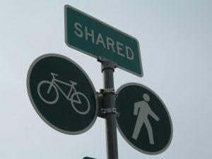 Shared bike and pedestrian sign
