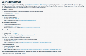 Image of course terms of use statement