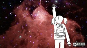Image of girl reaching toward stars