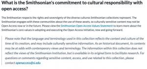 screen shot from Smithsonian's Open Access FAQ webpage