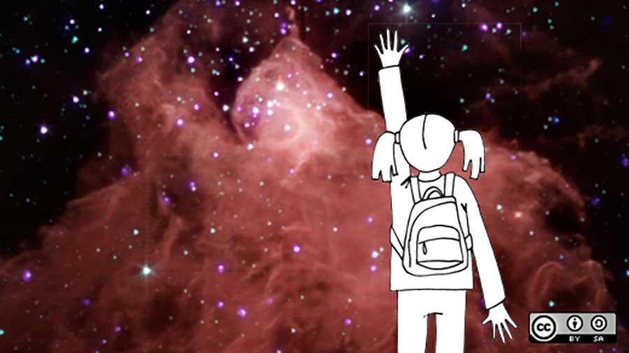girl reaching toward stars & the universe