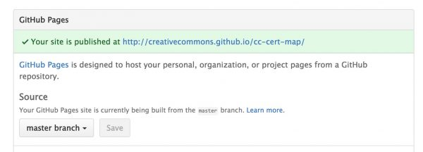 Setting the GitHub options to use the master branch to publish GitHub Pages.